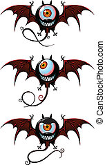 Flying creatures from nightmare - Three flying monsters -...