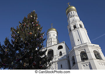 Ivan the Great Bell-Tower complex with New Year (Christmas)...