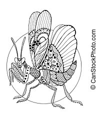 Mantis insect coloring book vector illustration. Anti-stress...