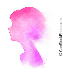 Pinkish woman digital art - Digital art woman illustration....