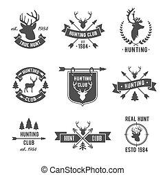 Hunter club logo set. Vector Illustration