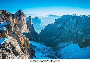 mountains Sella Ronda Dolomites Italy - View to Mountains...