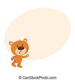 Cute traditional, retro style teddy bear character unhappily...