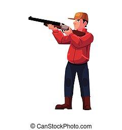 Single hunter aiming at his target with a gun, rifle