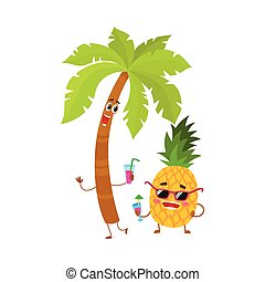 Funny pineapple and tropic palm characters holding cocktail...