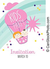 Invitation card for baby party with air ball and confetti....