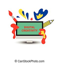 Icon digital art. Screen with splashes of paint, brush and...