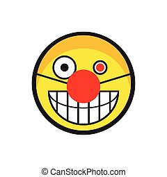 Evil smiley face clown with red nose. Vector illustration.