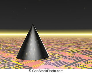 Abstract - Cone - Computer Generated Image - Black Cone on...