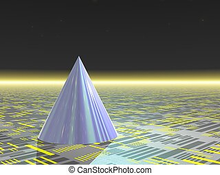 Abstract - Cone - Computer Generated Image - Blue Cone on...