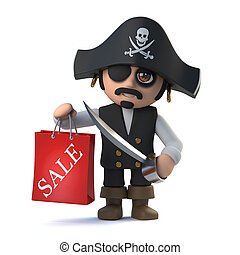 3d Funny pirate captain character has been to the sales - 3d...