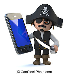 3d Funny pirate captain character has a new smartphone...