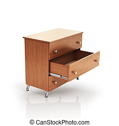 Cupboard with open drawer. 3d illustration