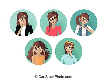 Set of Userpic of a Business Lady. Woman at Work