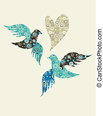 Two doves and a heart with floral pattern
