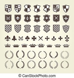 Kit of coat of arms for knight shields and royal emblems...