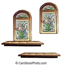 Wooden door with stained glass
