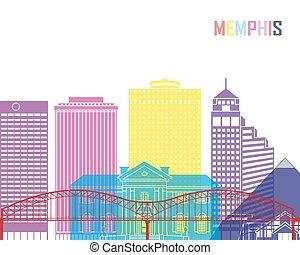 Memphis_V2 skyline pop - Memphis skyline pop in editable...