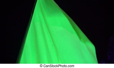 Green flag on beach party at night