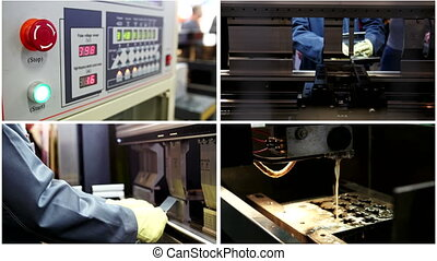 Laser processing of metal in industrial factory - cutting of...