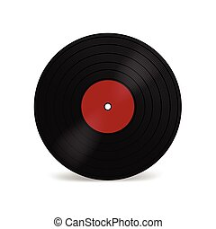 Vinyl LP record with red label. Black musical long play album disc 33 rpm. Old technology, realistic retro design, vector mockup illustration, isolated on white background.