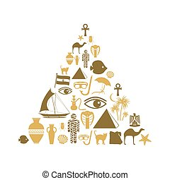 egypt country theme symbols icons set pyramid shape eps10