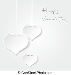 white valentine hearths from paper hanging and happy...