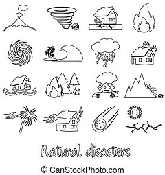various natural disasters problems in the world outline icons eps10