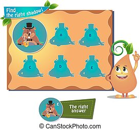 find right shadow woodchuck - visual game for children and...