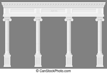 Antique white colonnade with Ionic columns. Three arched...