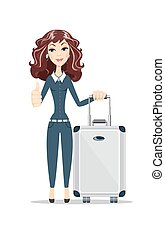 business woman with travel bag on white background
