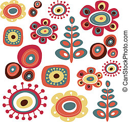 Floral elements - Cute floral doodle elements