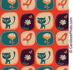 Cute childish wallpaper with kittens, birds and flowers