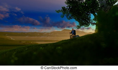 Grandfather on green meadow, resting under a tree, morning sun, tilt