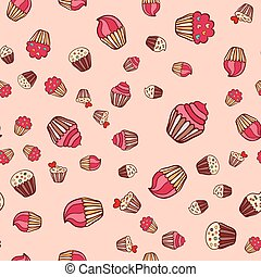 Hand drawn seamless cake pattern