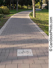 cycleway signposted a ground bikeway for cyclists. Bike lane...