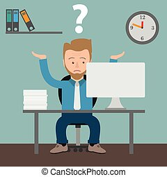 Cartoon Businessman Question Office