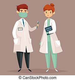 Cartoon dentist and woman with tooth x-ray - Dentist man...