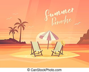 Sand coast or beach with deck chair and umbrella