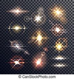 Star or sun, beam and burst light effect - Lens sun or star...