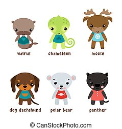 Cartoon kid or child animals with smiley faces - Cartoon...