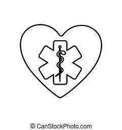 monochrome contour of heart with health symbol with star of...