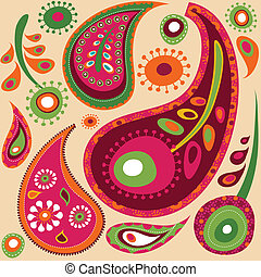 Paisley wallpaper pattern - Exotic colorful paisley...
