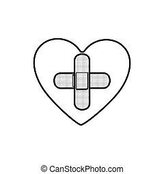 monochrome contour of heart with band aid in cross form