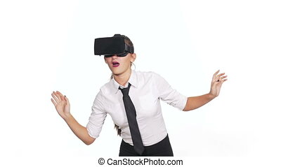 Woman wearing virtual reality glasses and making gestures