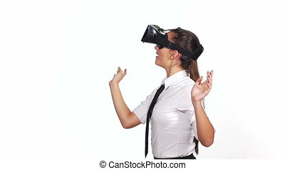Young female playing a virtual reality game