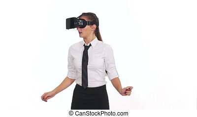 Woman with virtual glasses playing a game and getting scared