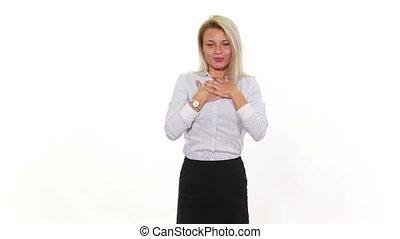 Beautiful young blonde female amazed