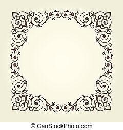 Art nouveau style square frame with stright lines