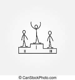 Cartoon icon of sketch little people. - Cartoon icon of...